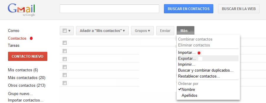 importar emails en gmail